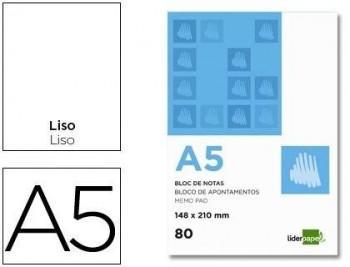 BLOC NOTAS LIDERPAPEL LISO A5 80 HOJAS 60G/M2 PERFORADO TAPA CARTONCILLO COD 3319