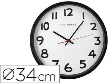 RELOJ Q-CONNECT DE PARED PLASTICO BS-OFICINA REDONDO 34 CM -MARCO NEGRO COD. 22369