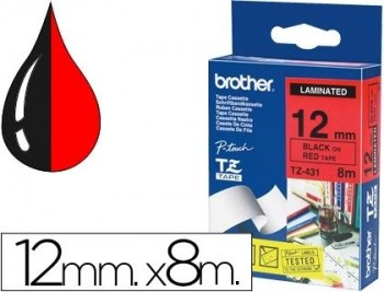 CINTA BROTHER TZE431 LAMINADA NEGRO-ROJO 12MM X 8MTS  COD. 94048