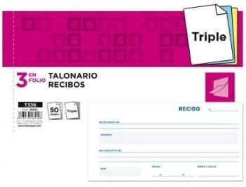TALONARIO LIDERPAPEL RECIBOS 3/Fº APAISADO ORIGINAL Y 2 COPIAS SIN MATRIZ COD. 18442