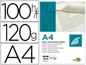 PAPEL VERJURADO LIDERPAPEL A4 120G/M2 CREMA PAQUETE DE 100 COD. 31911