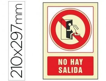 PICTOGRAMA SYSSA SEÑAL DE NO HAY SALIDA EN PVC FOTOLUMINISCENTE 210X297 MM COD 76035