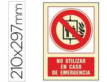 PICTOGRAMA SYSSA SEÑAL DE NO UTILIZAR EN CASO DE INCENDIO EN PVC FOTOLUMINISCENTE 210X297 MM COD 760