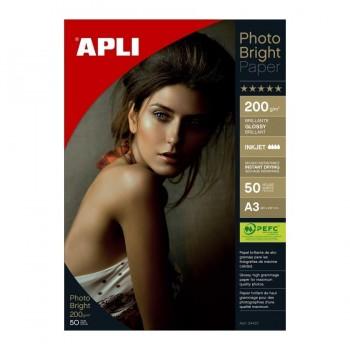 P/ 50 HOJAS PAPEL FOTOGRAFICO A3 PHOTOBRIGHT 200 GRS APLI RF. 04457