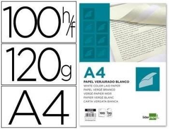 PAPEL VERJURADO LIDERPAPEL A4 120G/M2 BLANCO PAQUETE DE 100 COD 31907