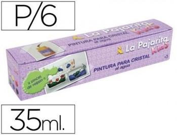 PINTURA LACA CRISTAL LA PAJARITA -SET DE 6 COLORES SURTIDOS +PINCEL COD 48821