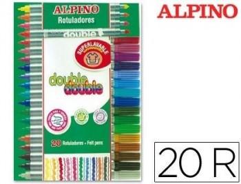 ROTULADOR ALPINO DOUBLE DOUBLE PUNTA GRUESA Y PUNTA FINA CAJA DE 20 COLORES COD 36320