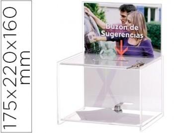 BUZON DE SUGERENCIAS ARCHIVO 2000 CON LLAVE DE POLIESTIRENO TRANSPARENTE 175X220X160 MM COD 71952