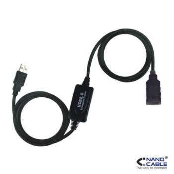 NANOCABLE - CABLE ALARGADOR USB 2.0 DE 10M PROLONGADOR CON AMPLIFICADOR CONEXIÓN A/M-A/H