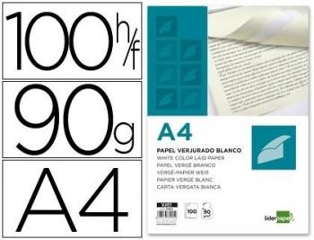 PAPEL VERJURADO LIDERPAPEL A4 90G/M2 BLANCO PAQUETE DE 100 COD. 31905