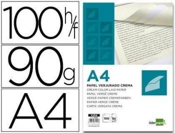 PAPEL VERJURADO LIDERPAPEL A4 90G/M2 CREMA PAQUETE DE 100 COD. 31909