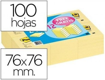 BLOC DE NOTAS ADHESIVAS QUITA Y PON POST-IT 76X76MM -PACK PROMOCIONAL 24+12 COD 51903
