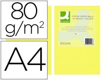PAPEL COLOR Q-CONNECT DIN A4 80GR AMARILLO INTENSO PAQUETE DE 500 HOJAS COD 72061