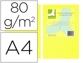 PAPEL COLOR Q-CONNECT DIN A4 80GR AMARILLO NEON PAQUETE DE 500 HOJAS COD 72066