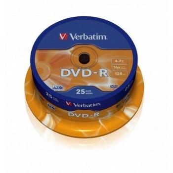 TARRINA 25 DVD-R 4,7 GB VERBATIM 16X MATT SILVER