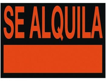 CARTEL PLASTICO SE ALQUILA ROJO FLUORESCENTE -405X340 MM