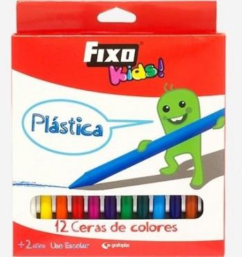 C/ 12 CERAS PLASTICAS DE COLORES FIXO KIDS GRAFOPLAS