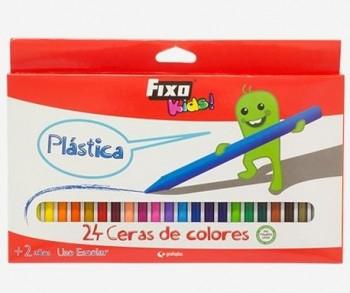 C/ 24 CERAS PLASTICAS DE COLORES FIXO KIDS GRAFOPLAS