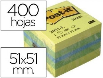 BLOC DE NOTAS ADHESIVAS QUITA Y PON POST-IT 51X51 MM MINICUBO COLOR LIMON 2051-L 400 HOJAS COD 39334