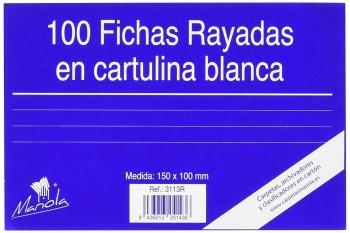 FICHA RAYADA MARIOLA Nº3 100X150MM PAQUETE DE 100