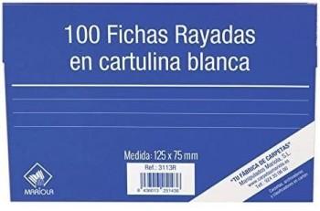 FICHA RAYADA MARIOLA Nº2 75X125MM PAQUETE DE 100
