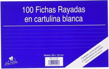 FICHA RAYADA MARIOLA Nº4 200X120 MM PAQUETE DE 100