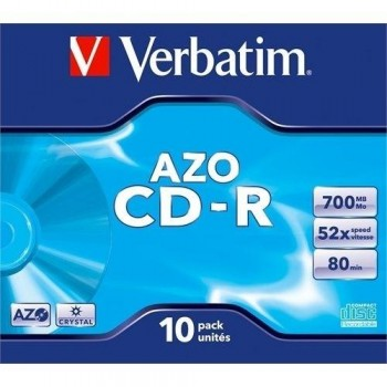 PACK 10 CD-R VERBATIM 700MB 52X JEWEL CASE 10 SUPER AZO