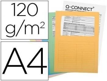 P/ 25 SUBCARPETAS CARTULINA Q-CONNECT DIN A4 COLORES SURTIDOS CON CON VENTANA TRANSPARENTE 120 GR CO