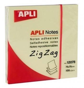 TACO NOTAS ADHESIVAS ZIG ZAG 75X75 APLI REF 12078