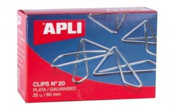 C/ 25 CLIPS MARIPOSA PLATA Nº 20 60MM APLI RF 11915