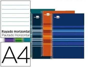 CUADERNO ESPIRAL LIDERPAPEL A4 MICRO CLASSIC TAPA FORRADA 160H 60 GR HORIZONTAL 5 BANDAS 4 TALADROS