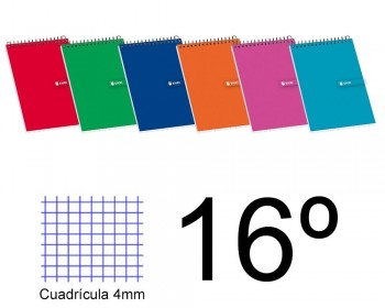 BLOC ESPIRAL DIECISEISAVO APAISADO CUADROS 4X4 TAPA BLANDA 80 H. 60 GR ENRI