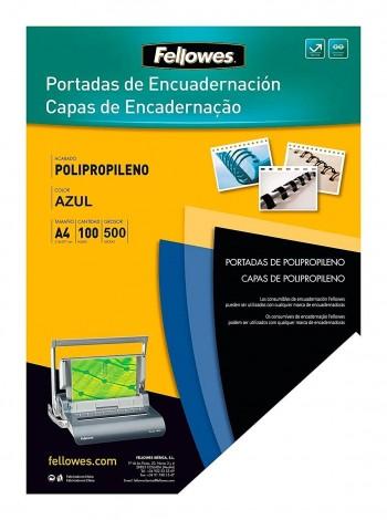 P/ 100 TAPAS ENCUADERNAR PLASTICO DURO 0.5 AZUL A-4 FELLOWES