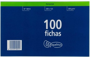 FICHA RAYADA MIQUELRIUS Nº4 200X120 MM PAQUETE DE 100