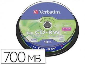 TARRINA 10 CD-RW 700MB 12X VERBATIM 43480