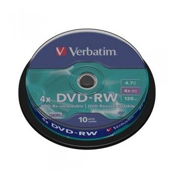 TARRINA 10 DVD-RW 4,7 GB 4X VERBATIM 43552