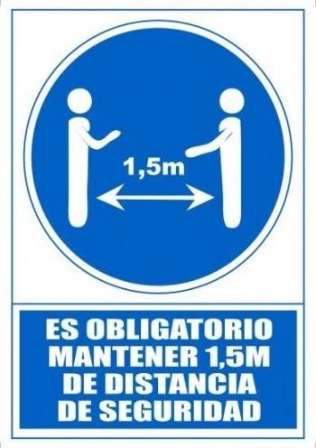 SEÑAL PVC A4 ARCHIVO 2000 \cES OBLIGATORIO MANTENER 1,5M DE DISTANCIA DE SEGURIDAD\c