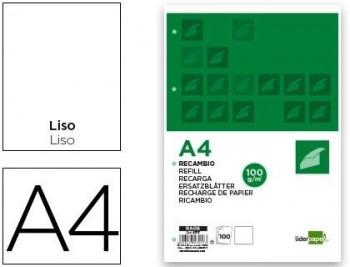 RECAMBIO LIDERPAPEL A4 100 HOJAS 100G/M2 LISO SIN MARGEN 4 TALADROS COD 47117