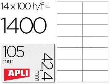 C/ 100 H. ETIQUETAS BLANCAS ILC 105,0 X 42,4 APLI RF 1277