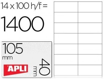C/ 100 H. ETIQUETAS BLANCAS ILC 105,0 X 40,0 APLI RF 1275