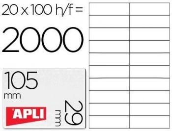 C/ 100 H. ETIQUETAS BLANCAS ILC 105,0 X 29,0 APLI RF 1299