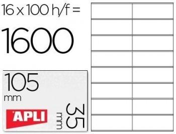 C/ 100 H. ETIQUETAS BLANCAS ILC 105,0 X 35,0 APLI RF 1287