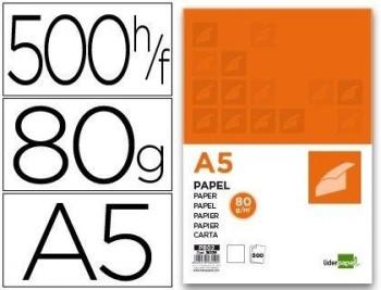 P/ 500 HOJAS PAPEL LIDERPAPEL A5 80G/M2.COD 28229