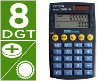 CALCULADORA CITIZEN BOLSILLO DE-200 EURO 8 DIGITOS DOBLE PANTALLA NEGRA EN BLISTER COD 27567