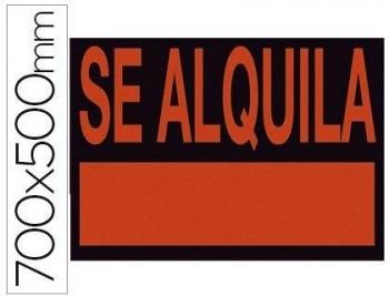 CARTEL PLASTICO SE ALQUILA ROJO FLUORESCENTE 700X500 MM COD. 34503