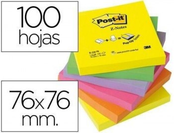 BLOC DE NOTAS ADHESIVAS QUITA Y PON POST-IT 76X76 MM Z-NOTES ULTRA INTENSO PACK DE 6 BLOCS SURTIDO C