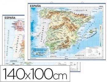 MAPA MURAL ESPAÑA FISICO/POLITICO -140 X 100 CM COD. 04912